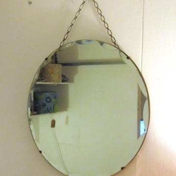 Round bevel edged vintage mirror.