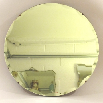 Round bevel edged vintage mirror