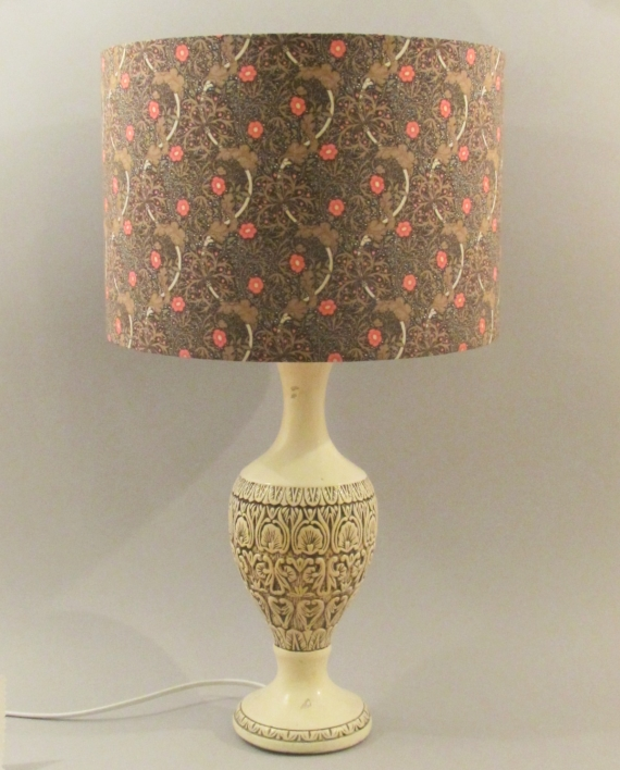 Wight Manor vintage lamp with handmade shade.