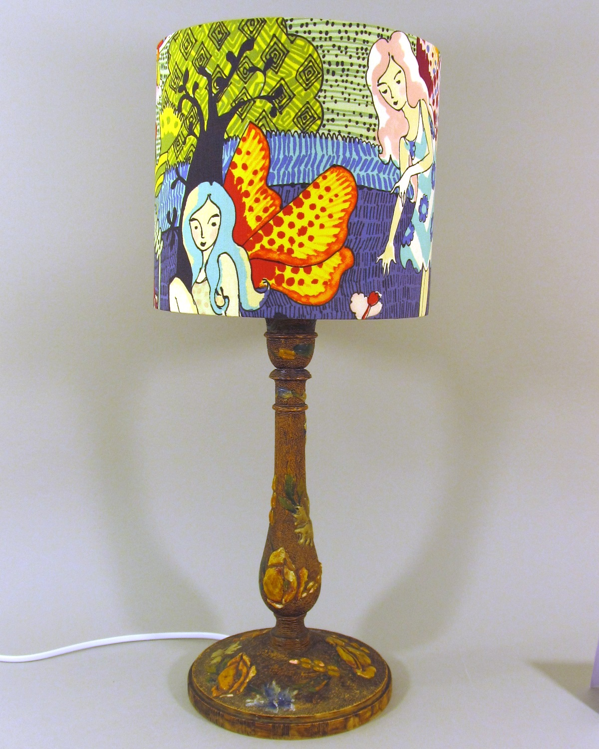 Fairytale vintage lamp with handmade shade