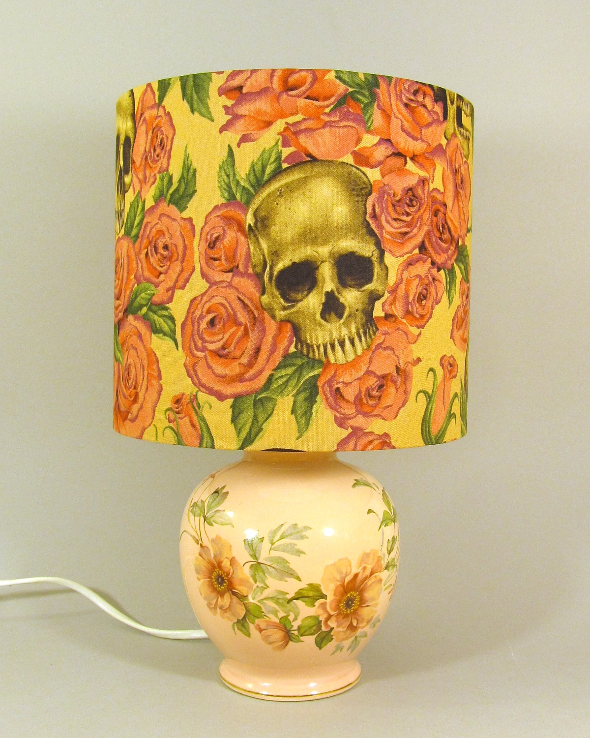 Gothic Rose vintage lamp with handmade shade