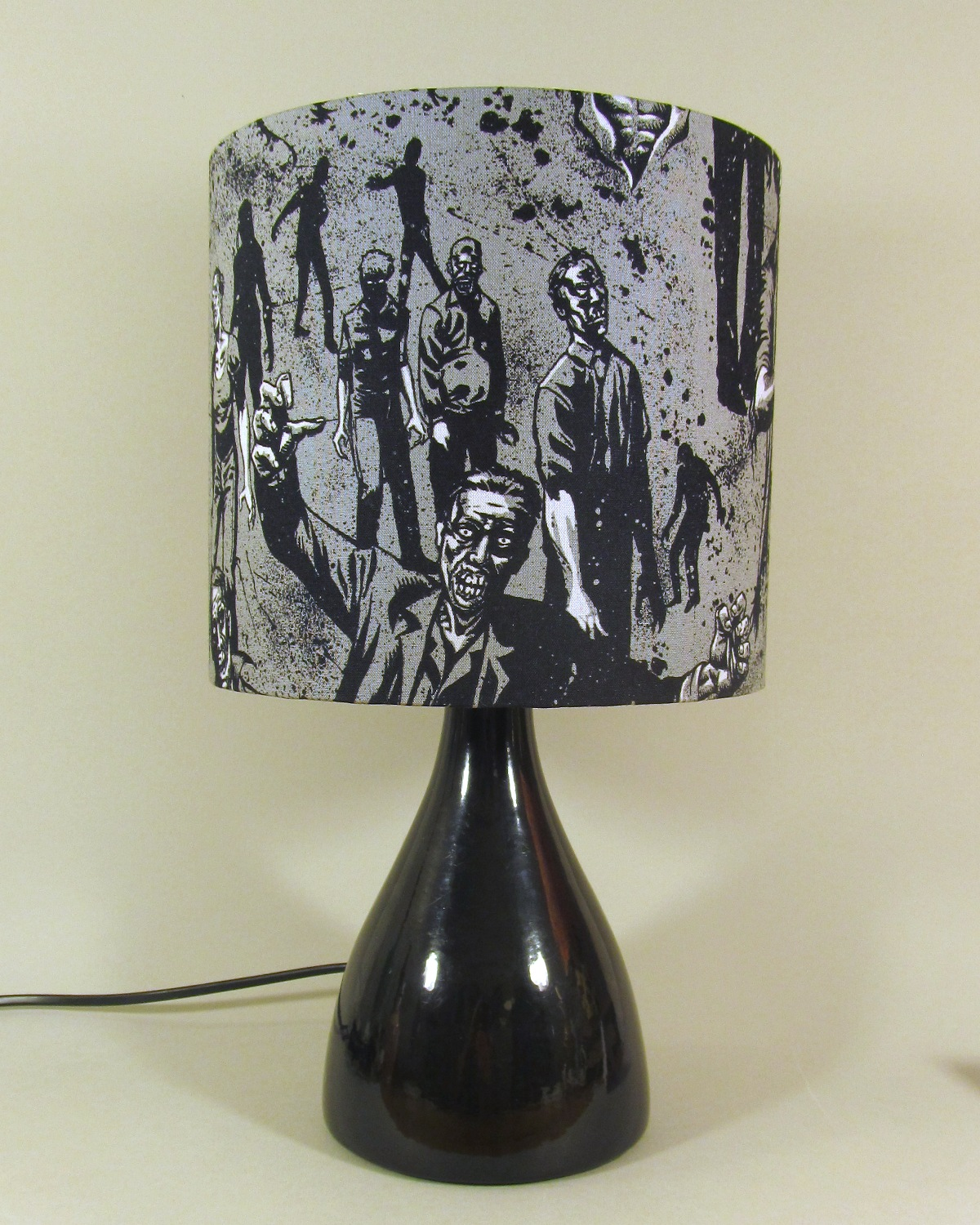 Zombieland vintage lamp with handmade shade