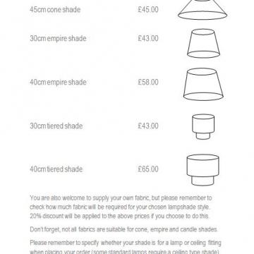 Handmade bespoke lampshade price list