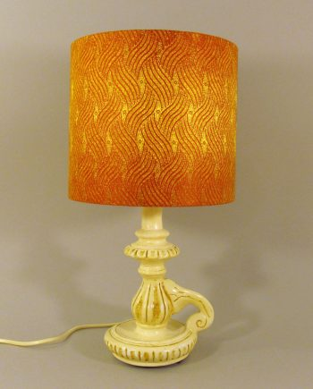 Flame vintage lamp with handmade lampshade