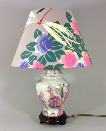 Chinese Peony vintage lamp with handmade shade