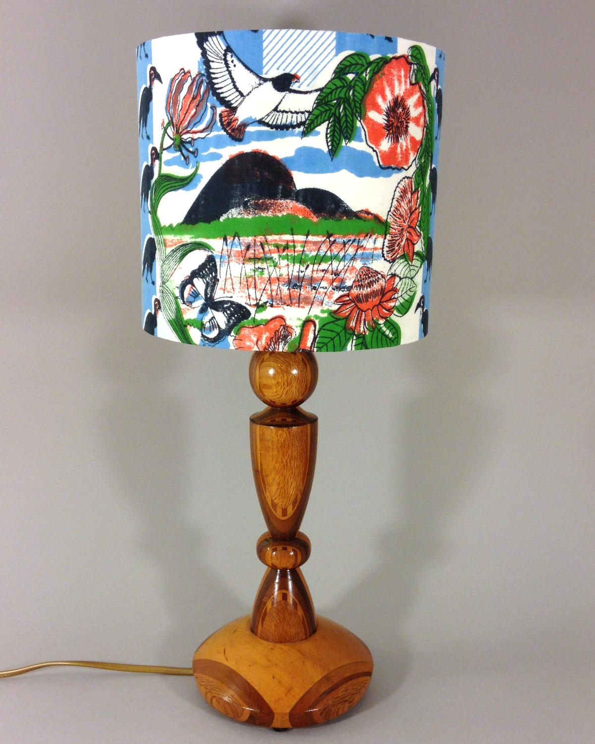 South Pacific vintage lamp with handmade shade
