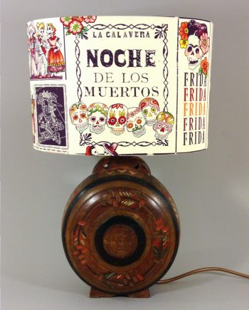 Night of the Dead vintage lamp with handmade shade