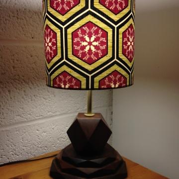 Hexstagonal vintage lamp with handmade shade