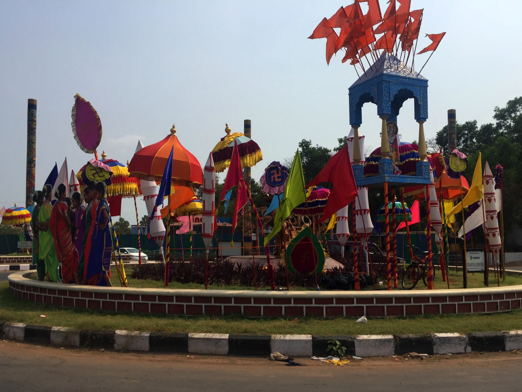Decorated roundabout in Goa