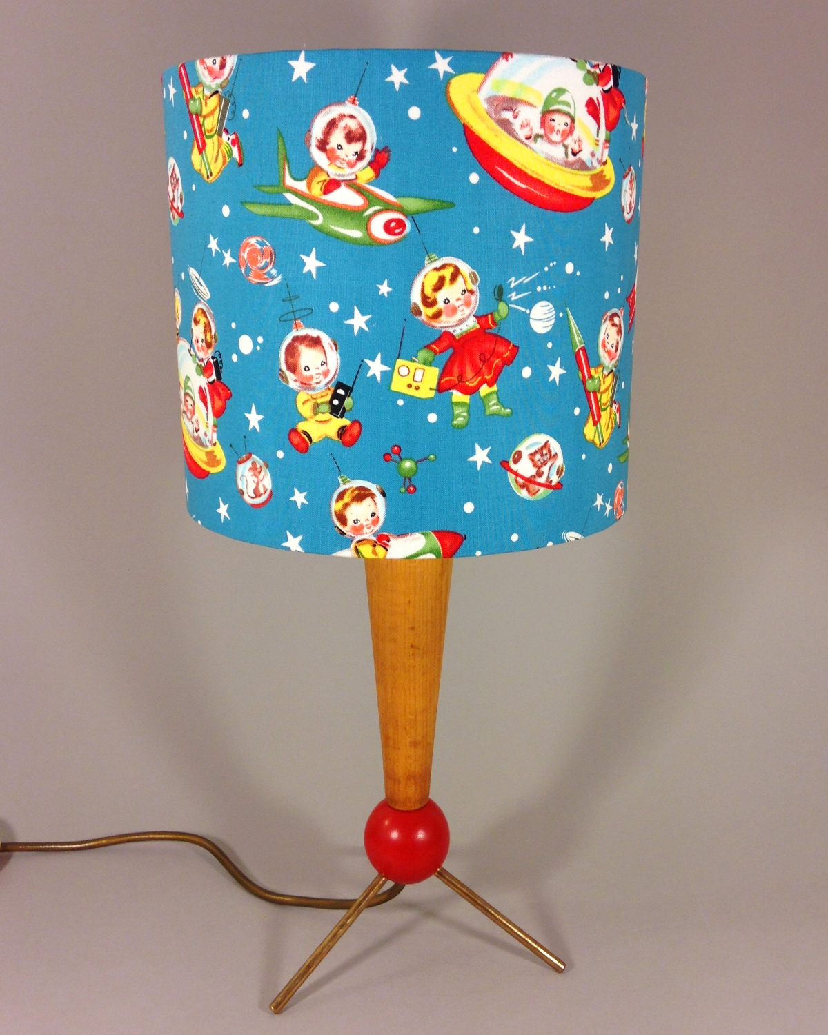 Space boy vintage lamp with handmade shade