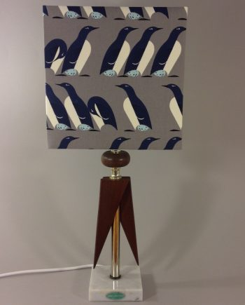 March of the Penguins vintage lamp with handmade lampshade