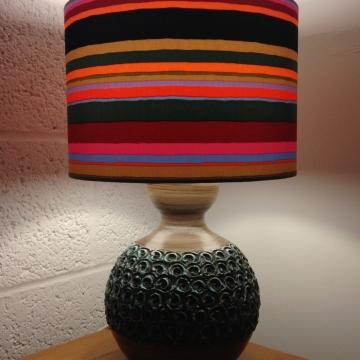 Disco Stripe vintage lamp with handmade shade