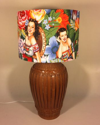 Fiesta Mexicana vintage lamp with handmade shade