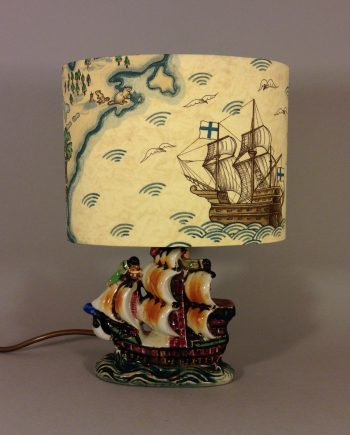 New World vintage lamp with handmade shade