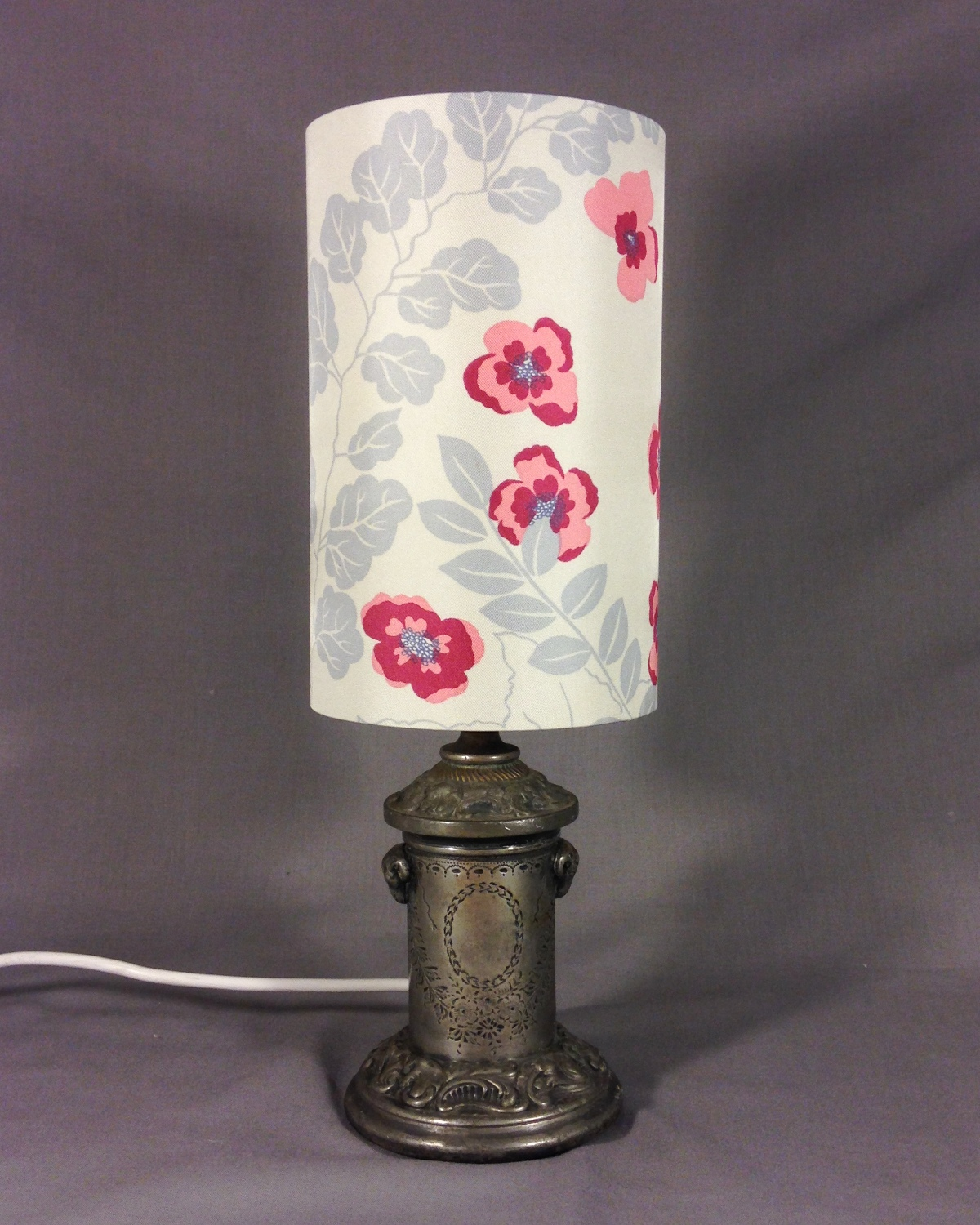 Argent Nouveau vintage lamp with handmade shade