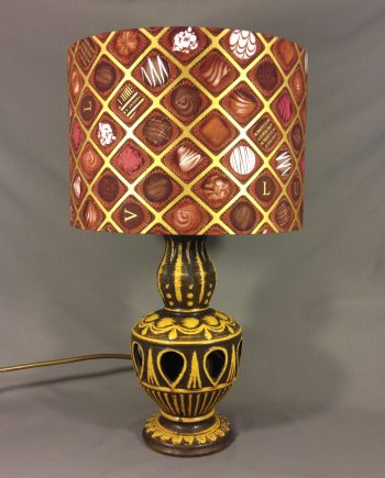 Chocolate Factory vintage lamp with handmade shade