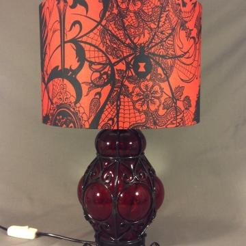 'Red Light Spells Danger' vintage lamp