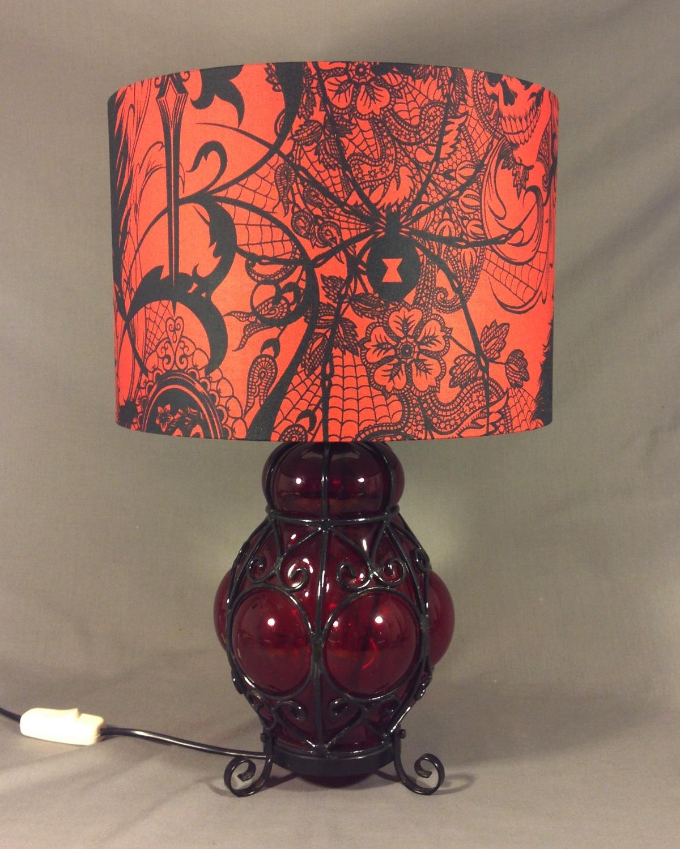 Red Light Spells Danger vintage lamp with handmade shade