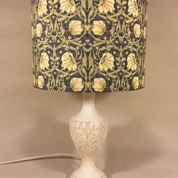 Morris-ey vintage lamp and handmade shade
