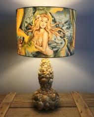 Sea Sirens vintage lamp with handmade shade
