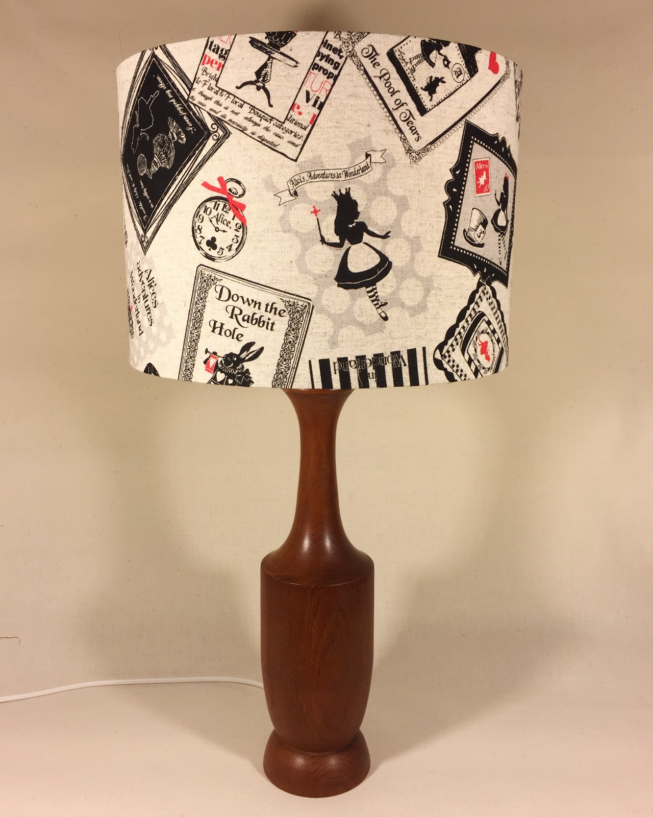 Wonderland vintage lamp with handmade shade