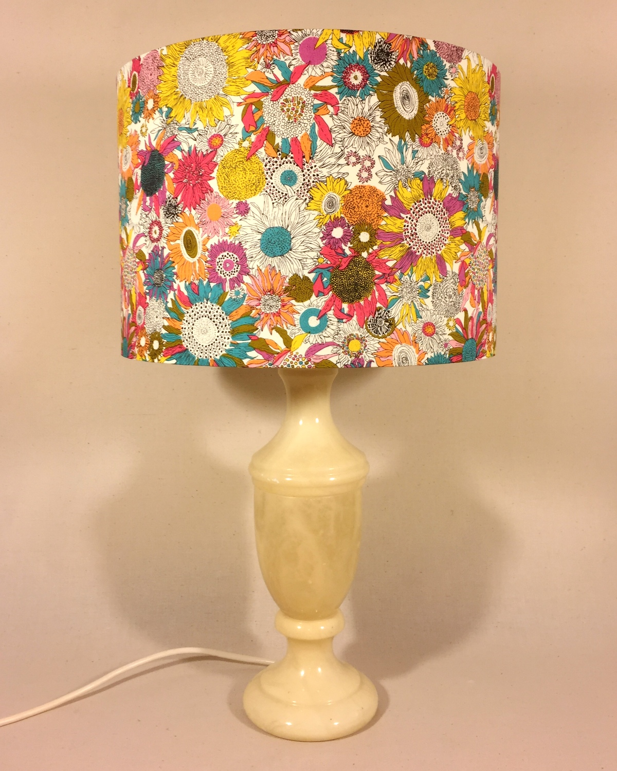 Daisy Doodle vintage lamp with handmade shade