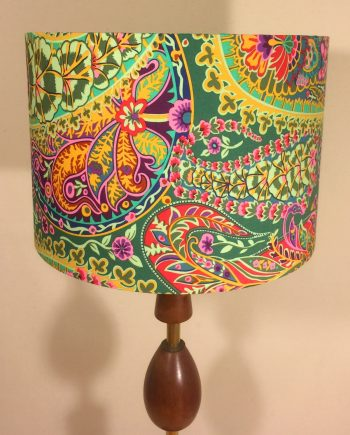Handmade lampshade in floral paisley fabric