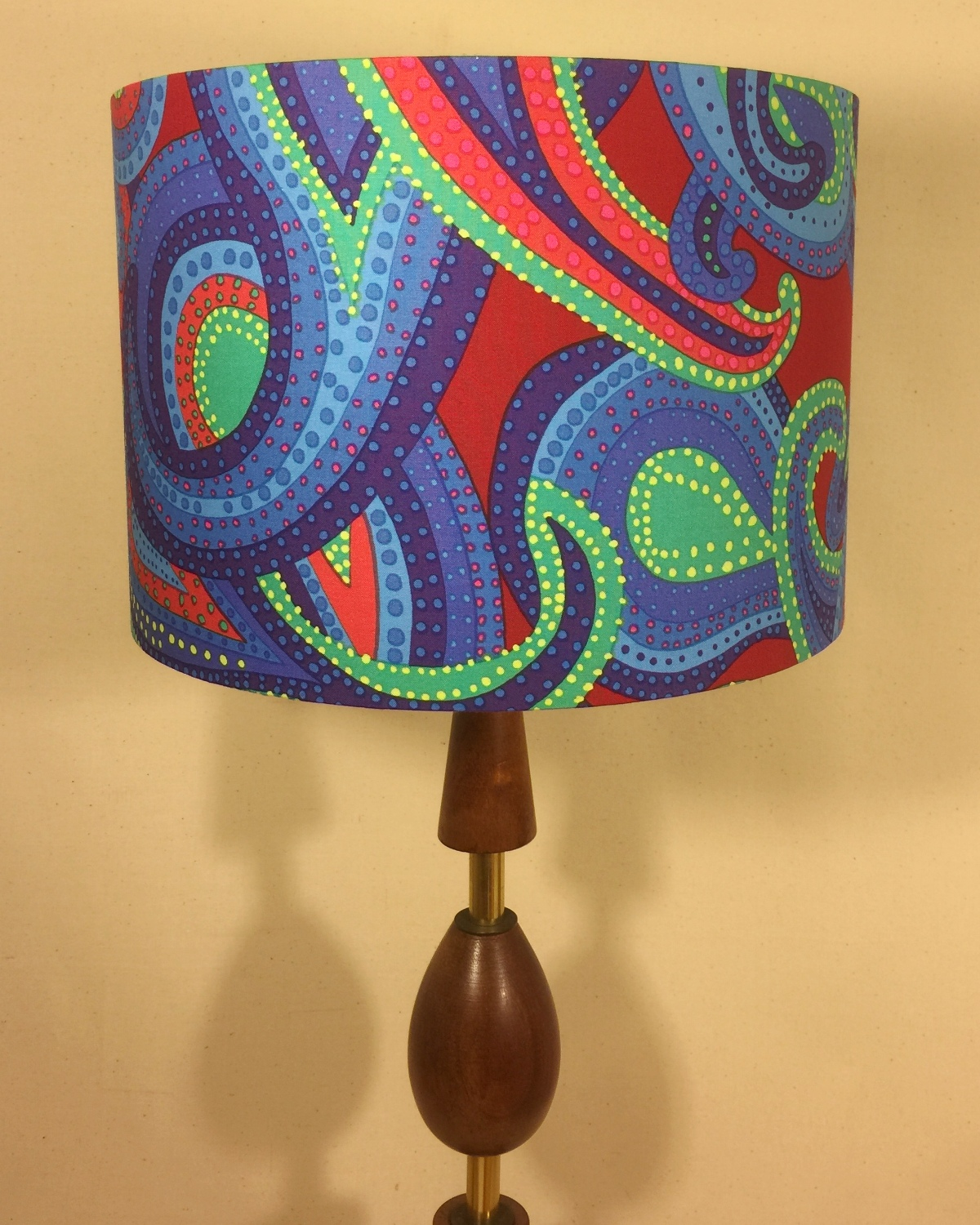 Bespoke lampshade in paisley stripe fabric