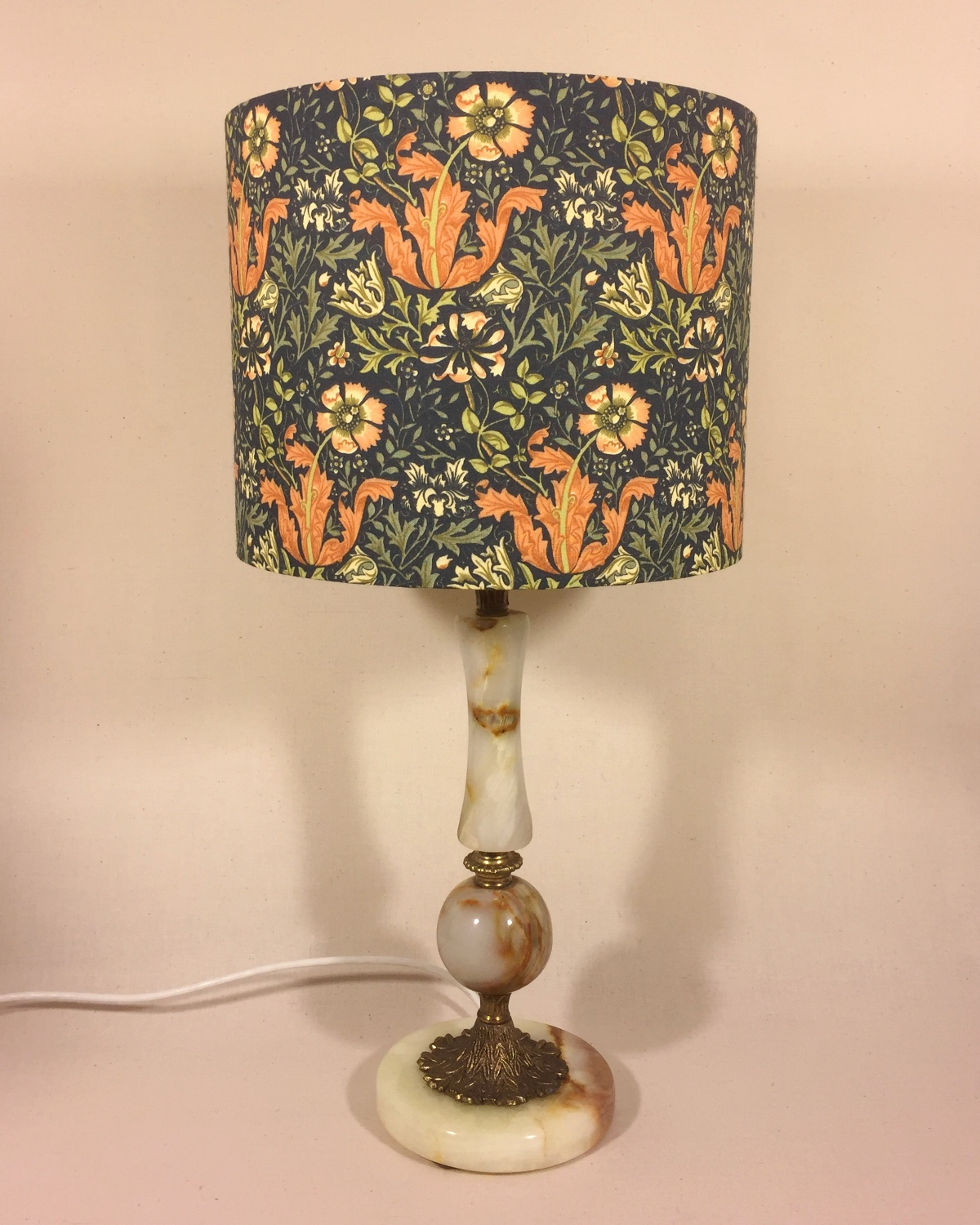Kelmscott Manor vintage lamp and handmade shade