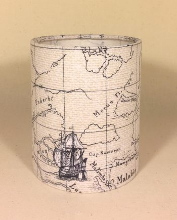 Nautical map lantern for battery tea light or LED string lights