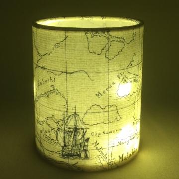 Nautical map lantern for battery tea light or LED string lights