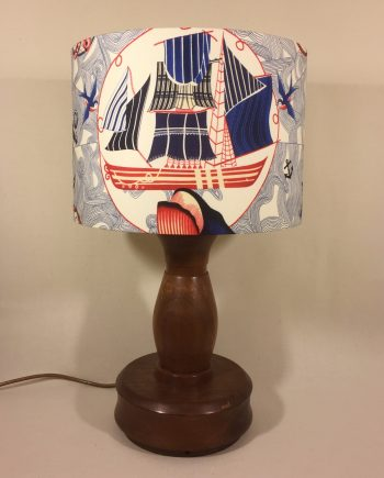 Set Sail vintage lamp with handmade shade