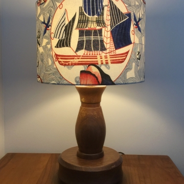Set Sail vintage lamp with handmade shade