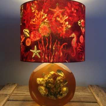 Under the Sea vintage lamp with handmade shade