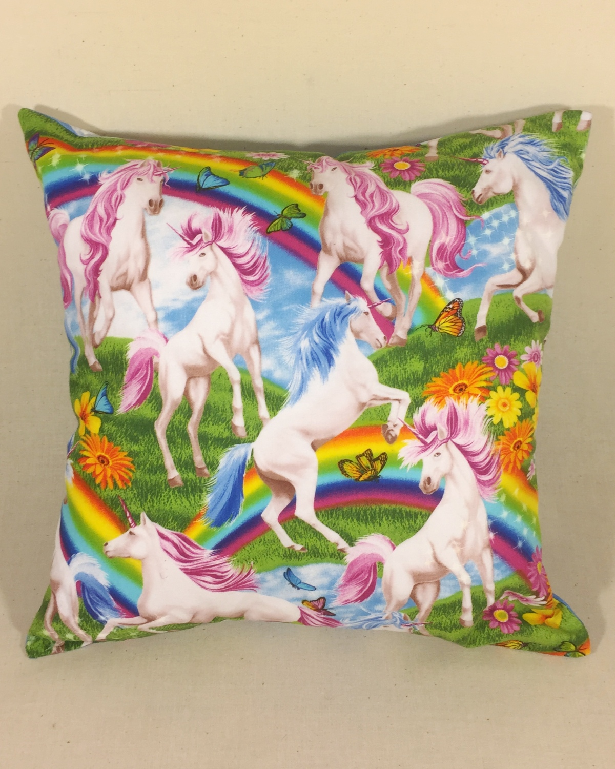 Unicorns & Rainbows - handmade scatter cushion