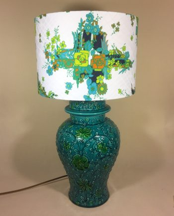 Groovy Blue vintage lamp with handmade shade