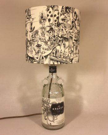 A Kraken Night Out bottle lamp and handmade shade