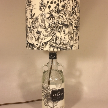 A Kraken Night Out bottle lamp and handmade shade