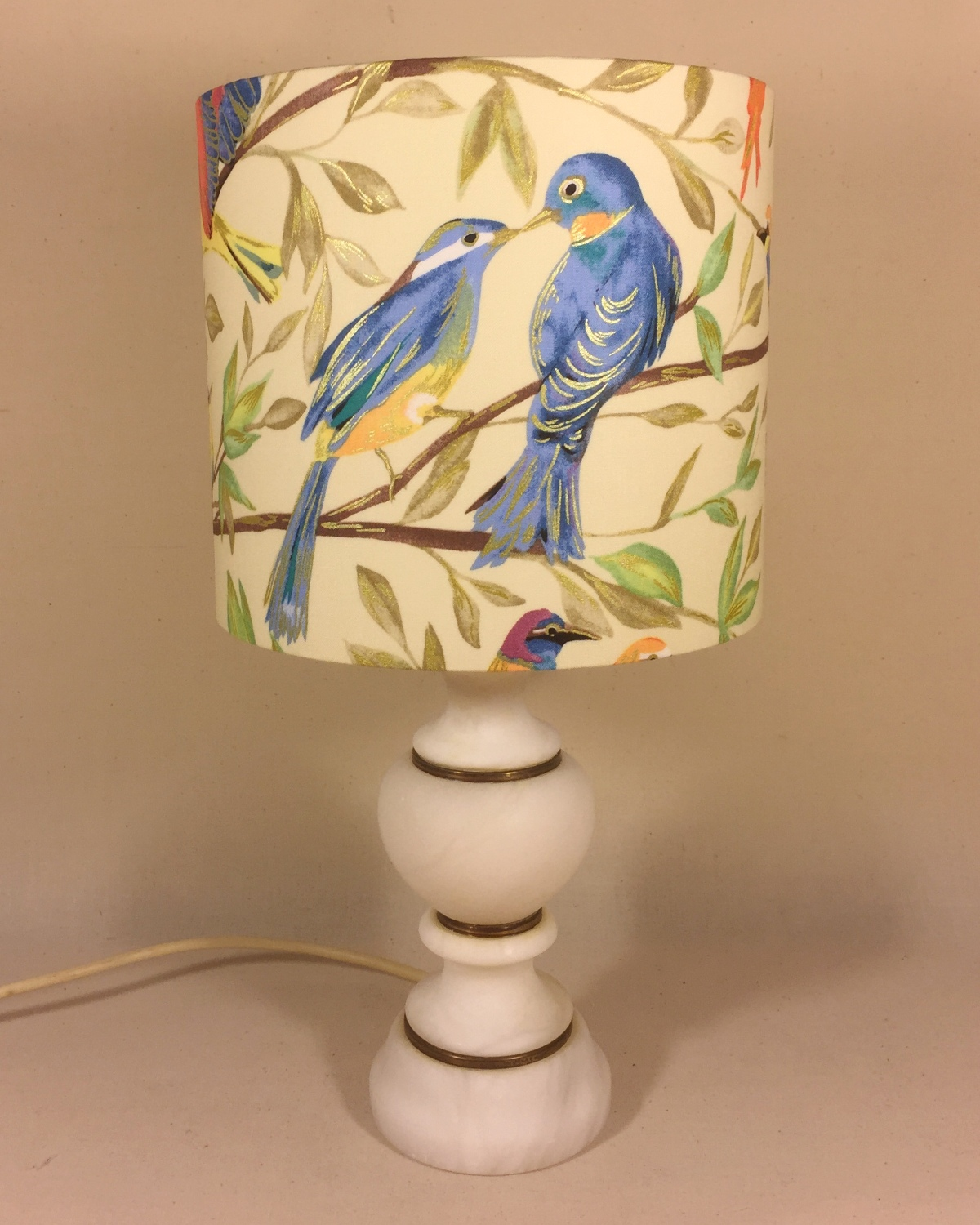 Blue Bird vintage lamp with handmade shade