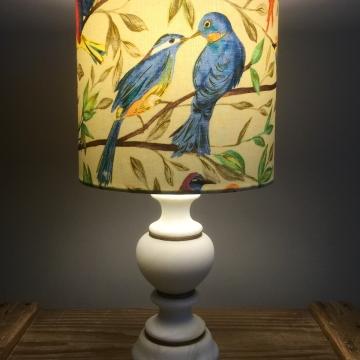 Blue Bird vintage lamp with handmade shade