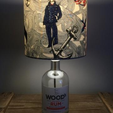 Lost at Sea bottle lamp and handmade shade