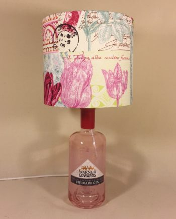 Potted Rhubarb bottle lamp with handmade shade