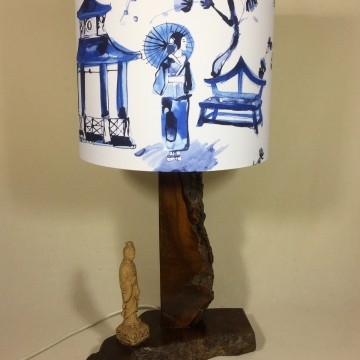 Pagoda vintage lamp with handmade shade