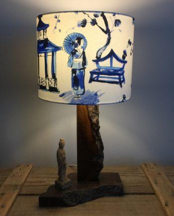 Pagoda vintage lamp with handmade shade
