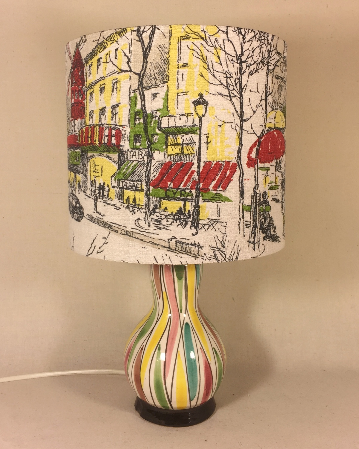 Moulin Rouge vintage lamp with handmade shade