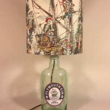 Dead Drunk Sailor bottle lamp and handmade shade