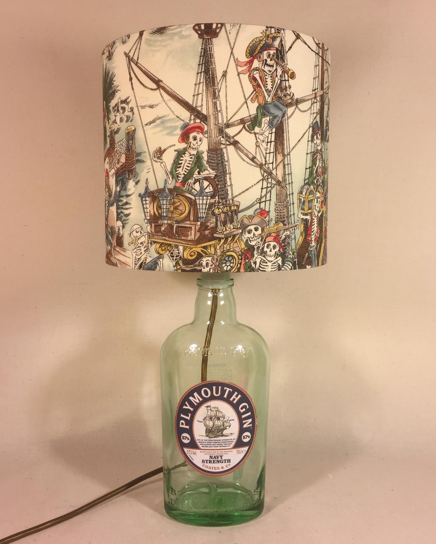 Dead Drunk Sailor bottle lamp and handmade shade