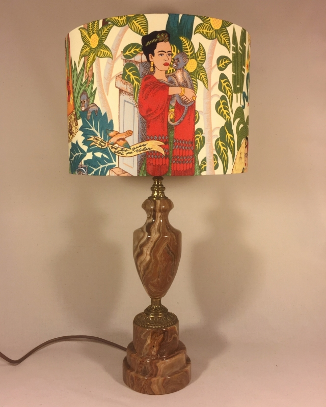 Frida's Garden vintage lamp with handmade shade