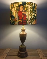 Frida's Garden vintage lamp with handmade shade