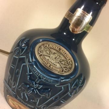 Regal Blue bottle lamp and handmade shade